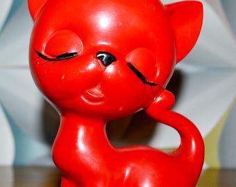Vintage ceramic figurine cat 70s Red