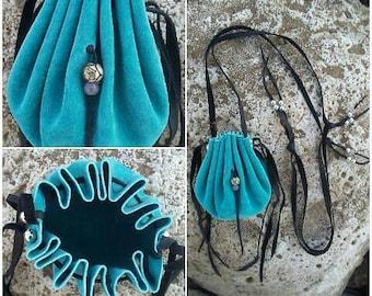 Turquoise Medicine Bag Necklace * Turquoise Medicine Pouch Necklace * Turquoise Leather Medicine Bag * Shaman Bag * Neck Bag * Crystal Pouch