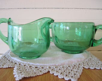 Uranium Glass Sugar and Creamer Set - Item #1604