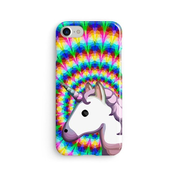 Unicorn emoji trippy rainbow  iPhone X case - iPhone 8 case - Samsung Galaxy S8 case - iPhone 7 case - Tough case 1P004