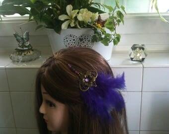 Headband shabby bronze,purpe violet feather,rhinstones,Amethyste,Agate/serre tete en chaine,plume violette,strass,Amethyste,Agate stone