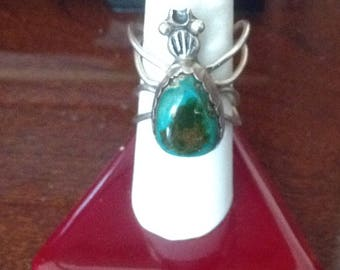 Native American Bezel Set Turquoise SPIDER RING...Size 7-1/4