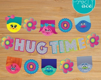 Trolls Hug Time Banner Birthday Party Decoration Show your True Colors