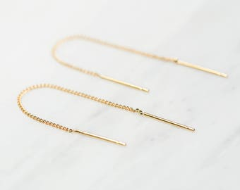 Gold Threader Earrings / Gold Chain Earrings / Dainty String Earrings / Gold Dangle Earrings / Bridesmaid Earrings