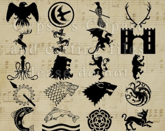 Game of Thrones SVG, Game of Thrones Logos, GOTS SVG, Lannister, Targaryen, Tulley, Greyjoy, Vinyl Decal, Baelish, Aryyn, Khalessi, Dragon