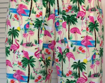 Pink flamingos on light yellow background flannel pajama pant