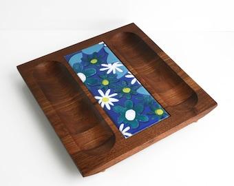 Mid Century Bey-Cor Walnut Enamel Tile Trivet Serving Tray Platter