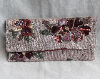 Sequined Floral Embroidered Evening Clutch Bag