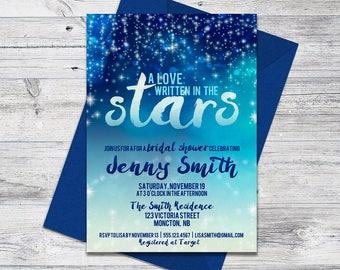 Printable Blue Bridal Shower Invitation, Written in the Stars, Star Invite
