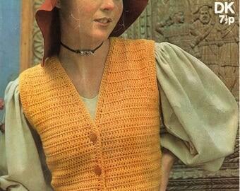 PDF Vintage 1970s Womens Ladies Crochet Pattern Waistcoat Peplum Sirdar 5254 Folk Medieval Lacy 1920s style Groovy Hippy Glamour