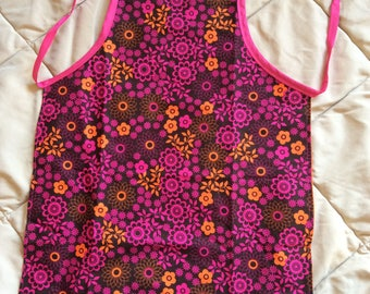 Pink and Brown Paisley Child Sized Reversible Apron