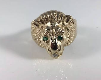 Lion head ring silver 925 with gold plating