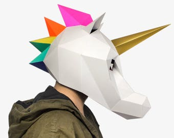 Unicorn Mask, Unicorn Costume,  Halloween mask, Halloween costume, Rainbow,  DIY Paper Mask, Printable Mask, Unicorn Party, Unicorn Birthday