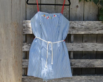 Vintage nautical red white and blue romper/playsuit size medium large