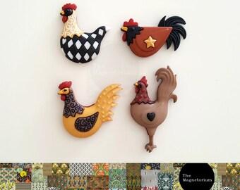 Country Chicken Fridge Magnet Set