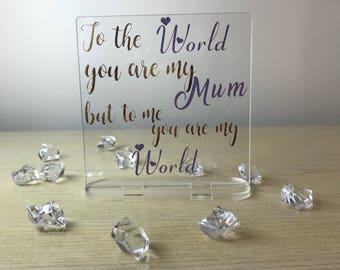 Mum acrylic plaque