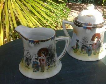 Vintage Japan sugar bowl in earthenware Creamer hand painted