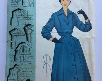 "Fabulous 50's french vintage sewing pattern : Woman buttoned dress with collar and pockets - size 16 taille 44 ""Patron modele 58502"""