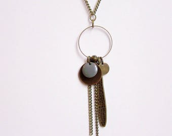 Necklace enamelled grey sequin