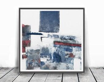 Wall Art 12x12, Abstract Wall Art, Abstract , Blue Print, Scandinavian Design, Minimalist Art, white and navy blue, light blue, indigo,rose