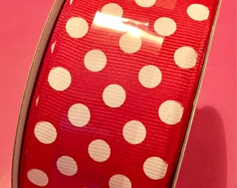 Red & White Dot Wired Ribbon