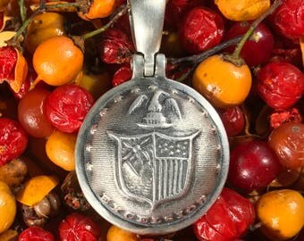 Sterling Silver Union NEW YORK State Coat Of Arms Button Civil War Relic Pendant