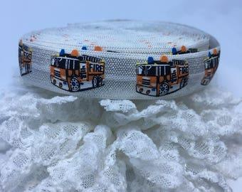 Fire Truck Fold Over Elastic - Wholesale Fold Over Elastic - 1 yard Headband Elastic