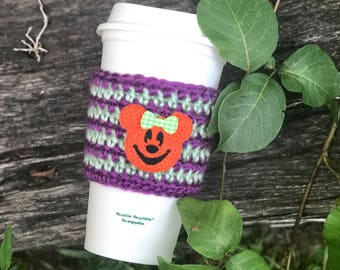 Not So Scary Coffee Cozy - Halloween Pumpkin Coffee Sleeve - Pumpkin Mouse - Theme Park Gift - Coffee Cup Cozy - Not So Scary Halloween