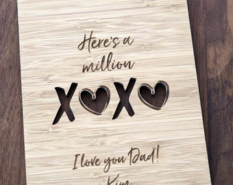 Father's day Card, Million XOXO wooden greeting card, Father's birthday Valentines Card, Dad Love you wood Greeting Card