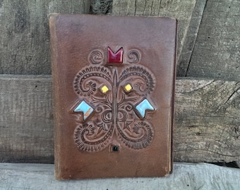 Antique Brown Real Leather Portfolio, Vintage Folding Hand Tooled Leather Book Cover, Leather folder, Retro Office Decor, Gift Idea