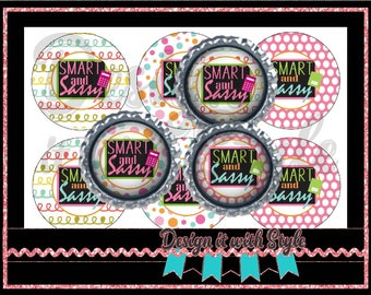 Flat back Buttons, 1.5 Flat back buttons Smart and Sassy