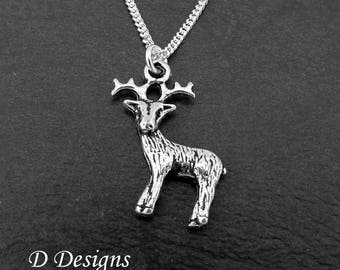 Stag Necklace, Stag Pendant, Deer Necklace, Reindeer Necklace, Reindeer gifts, Stag gifts, Silver Charm Necklace,  Gifts for her