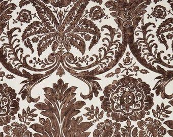 SCALAMANDRE LUCIANA DAMASK Print Linen Fabric 10 Yards Espresso