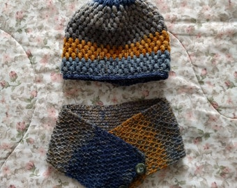 Handmade Crocheted Hat and Cowl/Neck Warmer Combo for Kids (Aged 3-5)