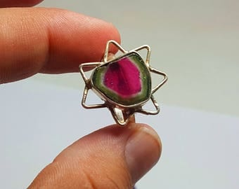 WOW Beautiful Polish Watermelon Tourmaline Slice Ring Silver 925@ Afghanistan(2)