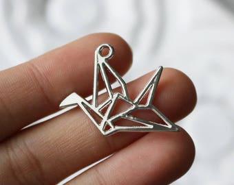 30 origami charms, bird chamrs, crane charms, animal charms, wholesale charms, sivler charms, boho charms,