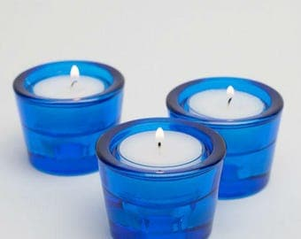 72 Candle holders Tealight and/or Taper Holder Blue Candle Holders,  Wedding Gift Candle holder, Bulk Candle Holders, Wedding or home Decor