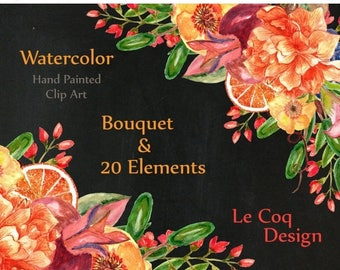 "ON SALE 30% Watercolor Winter floral clipart: ""WINTER Bouquet"" Autum clipart orange flowers Fall clipart diy elements watercolor flowers wed"