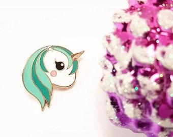 Teal unicorn enamel Kawaii pin | Unicorn lapel pin kawaii hard enamel | Unicorn kawaii pin | Cute gift for her