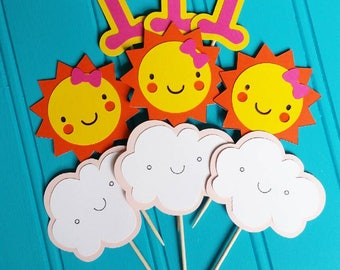 You are my sunshine themed cupcake toppers.