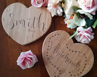Custom heart board, Valentines day gift, personalised bamboo chopping board, flower pattern, wedding gift, couples gift, anniversary gift