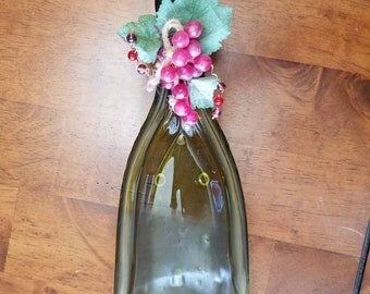 Slumped Melted Wine Bottle Serving Bowl with grapes, leaves, wire and beads