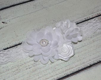 Christening Baby Headband,Baptism Baby headband,White flower Headband,girl headband,vintage headband,girls headbands lace headband wedding