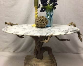 Italian Marble and Driftwood Coffee Table