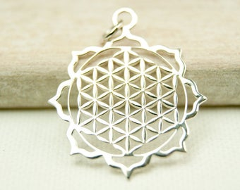 Flower of life, pendant with loop, 925 silver #4650