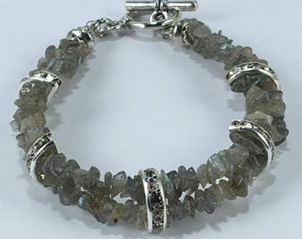Handmade Genuine Labradorite Feldspar bracelet, Labradorite beaded bracelet, Labradorite 3 strand bracelet labradorite bracelet jewelry