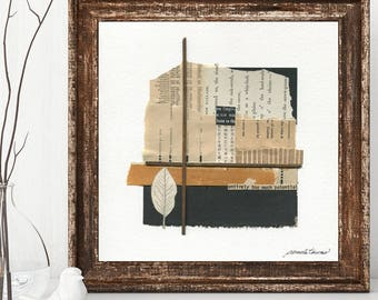 UNDERRATED mixed media abstract collage, original art, wall art, vintage papers