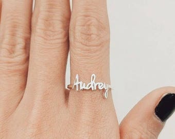 Name Ring, Custom Name, Personalized Ring, Dainty Name Ring, Rose Gold Ring, For Her, Personalized Gift, Mothers Ring, Christmas Gift, Gift