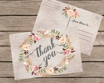 Thank You Postcards. Rustic Thank you Cards Printable, Floral Thank You Postcards 4x6, Digital Postcard, Instant Download