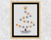 Pet Christmas tree cross stitch pattern, dog or cat paw print xmas chart, dog craft gift, cat lover embroidery design, modern animal PDF